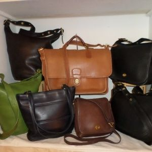 LOT OF 7 VINTAGE COACH LEATHER BAGS